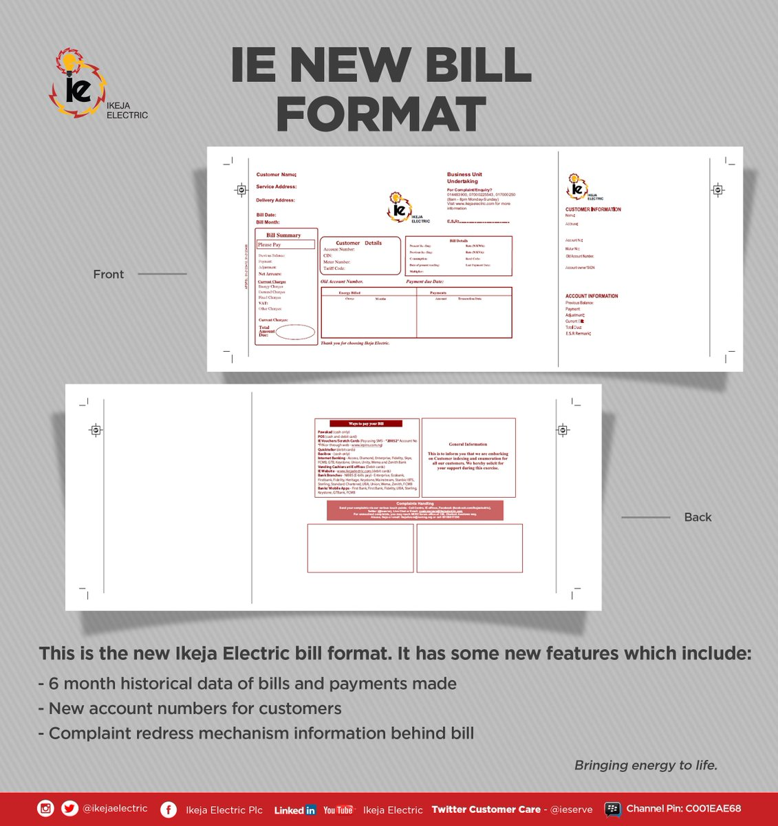 Ikeja Electric New Bill Format
