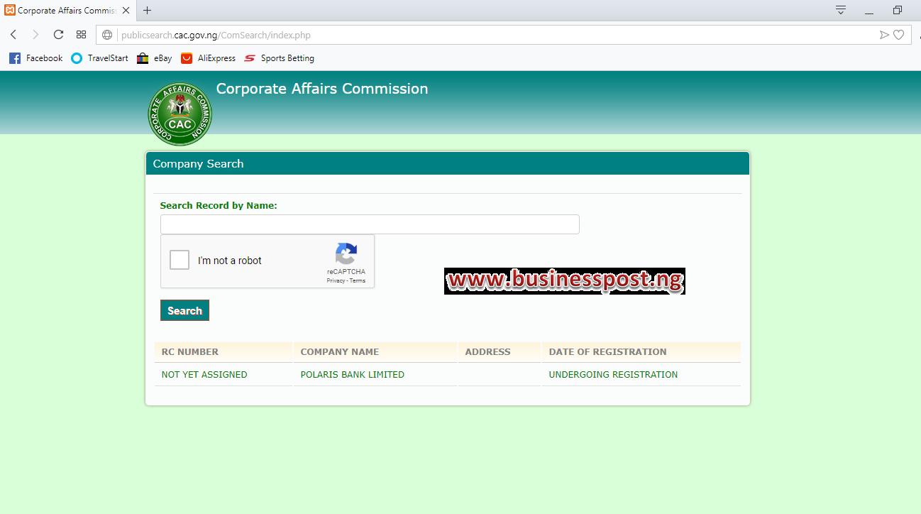 CBN Yet to Register Polaris Bank, New Owner of Skye Bank