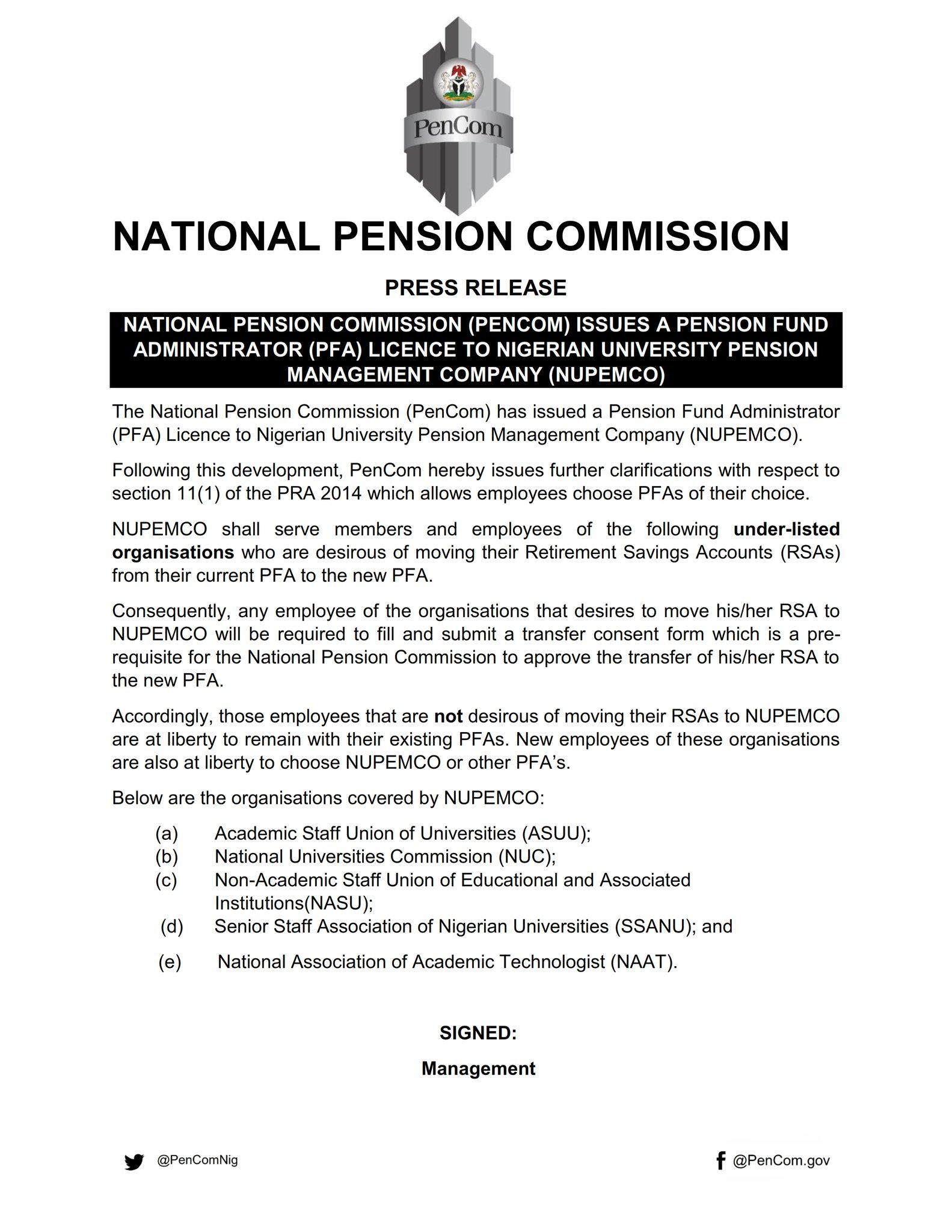 NUPEMCO Obtains PenCom Licence to Operate PFA